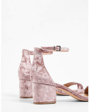 Express velvet ankle strap block heeled sandals