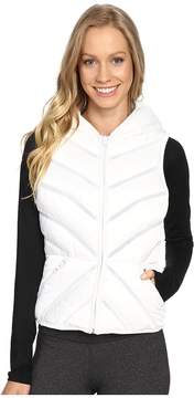 Blanc Noir Mesh Inset Puffer Vest Satin Women's Vest