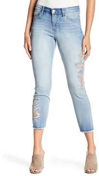 Nine West Gramercy Embroidered Frayed Hem Crop Jeans