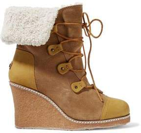 Australia Luxe Collective Mona Shearling-Lined Leather And Suede Wedge Boots