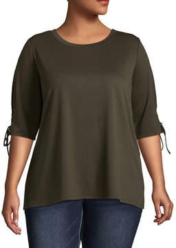 Boutique + + 3/4 Sleeve Round Neck T-Shirt - Plus