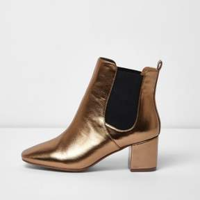 River Island Womens Bronze block heel wide fit Chelsea boots