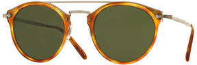 Oliver Peoples Remick Monochromatic Brow-Bar Sunglasses, Semi-Matte Light Brown/Green