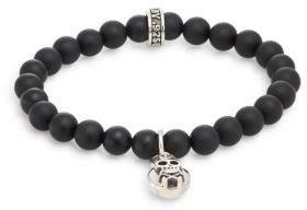 King Baby Studio Onyx & Sterling Silver Beaded Skull & Crossbones Charm Bracelet