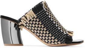 Proenza Schouler Woven Leather And Raffia Mules - Black