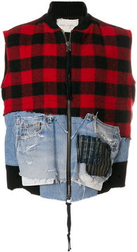 Greg Lauren patched plaid and denim gilet