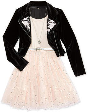 Beautees 2-Pc. Embroidered Moto Jacket, Necklace & Babydoll Dress Set, Big Girls Plus (8-20)