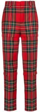 Balenciaga Red wool tartan trousers