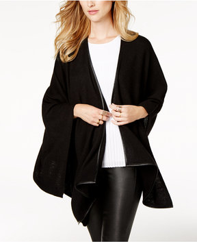 Charter Club Cashmere Faux-Leather-Trim Wrap, Created for Macy's