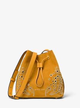 MICHAEL Michael Kors Cary Small Grommeted Suede Bucket Bag