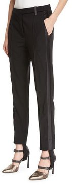 Brunello Cucinelli Stretch-Wool Stirrup Pants with Tuxedo Stripe, Black