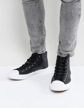 Converse Jack Purcell Leather Mid Sneakers In Black 157707C