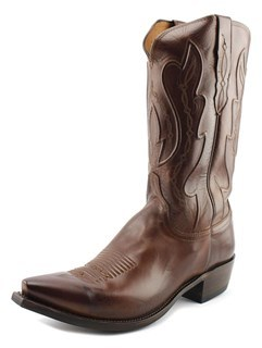 Lucchese Ranch Hand Men Pointed Toe Leather Tan Western Boot.