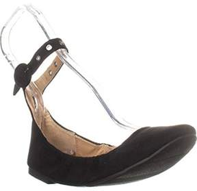 Material Girl Womens Francy Fabric Closed Toe Ankle Strap Ballet Flats.