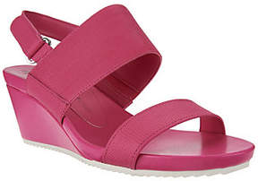Isaac Mizrahi Live! Double Strap Leather WedgeSandals