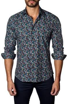 Jared Lang Micro Feather Trim Fit Print Shirt