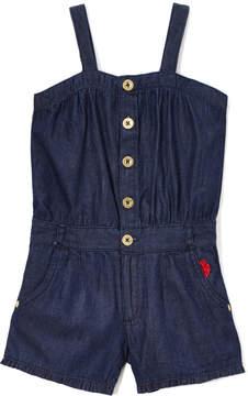 U.S. Polo Assn. Dark Blue Button Front Romper - Toddler