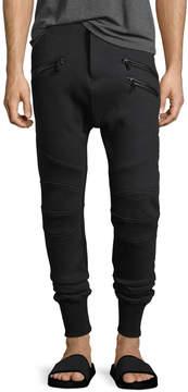 Pierre Balmain Leather-Trim Jogger Pants
