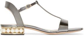 Nicholas Kirkwood Casati Embellished Metallic Patent-leather Sandals - Silver