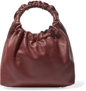 The Row Double Circle Small Leather Tote - Burgundy