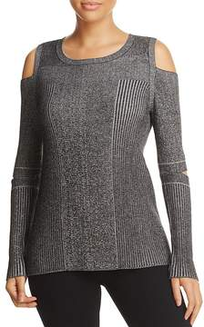 Design History Cold Shoulder Slit Elbow Sweater