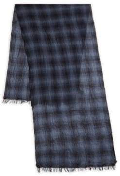 John Varvatos Ombre Plaid Wool Scarf
