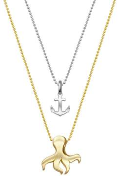 Alex Woo 14K Yellow Gold & Sterling Silver Mini Anchor & Octopus Pendant Necklace - Set of 2