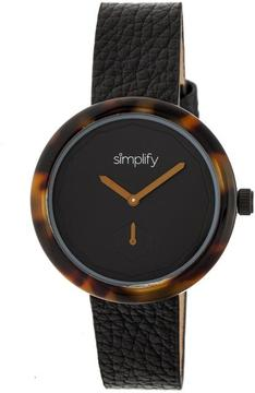 Simplify The 3700 SIM3703 Brown and Black Leather Analog Watch