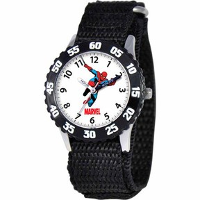 Spiderman Marvel Boys' Stainless Steel Watch, Black Strap