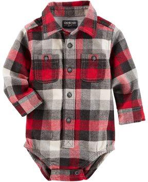 Osh Kosh Baby Boy Red Plaid Flannel Bodysuit