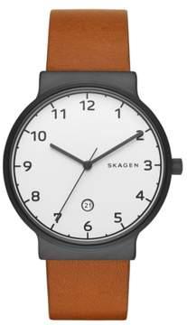 Skagen 'Ancher' Round Leather Strap Watch, 40mm