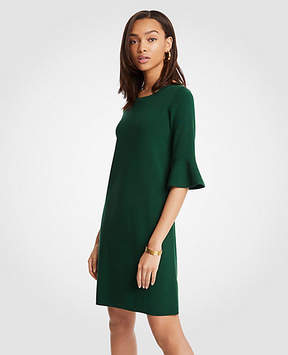 Ann Taylor Fluted Sleeve Sweater Dress
