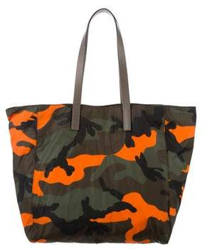 Valentino Leather-Trimmed Camouflage Tote