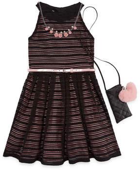 Knitworks Knit Works Belted Stripe Sleeveless Skater Dress w/ Purse- Girls' 7-16