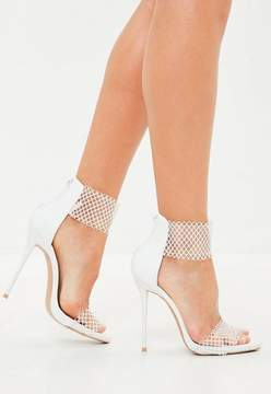 Missguided White Mesh Clear Barely There Sandals