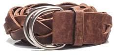 Prada Women's Vintage Braided D-ring Calf Leather Belt Brown.