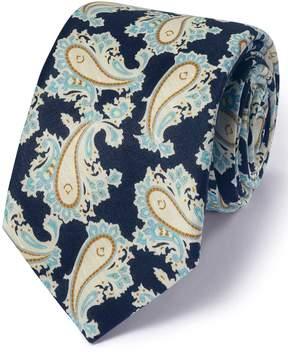 Charles Tyrwhitt Navy Cotton Mix Printed Paisley Italian Luxury Tie
