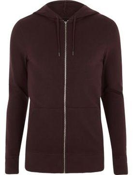 River Island Mens Dark purple muscle fit zip up hoodie