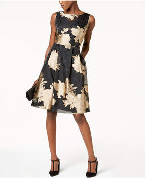 Ellen Tracy Floral-Print Illusion Dress