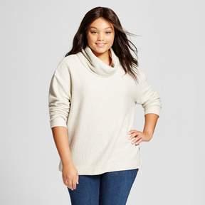 Ava & Viv Women's Plus Size Cowl Neck Pullover with Gold Shine Cream