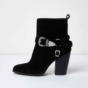 River Island Womens Black western buckle ankle boots
