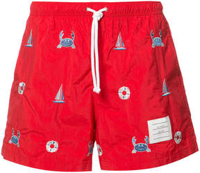 Thom Browne Swim Trunk In Funmix Icon-Embroidered Red Nylon