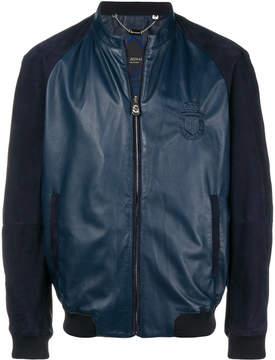Billionaire contrast panel bomber jacket