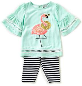 Rare Editions Little Girls 2T-6X Flamingo-Appliqued Top & Stripe Capri Leggings Set