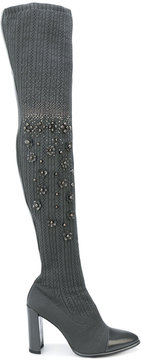 Stuart Weitzman knitted sock style boots with embellishment