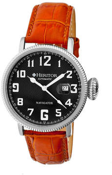 Heritor Automatic Olds Mens Leather Magnified Date-Silver/Black/Camel Watches