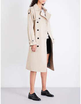 Claudie Pierlot Ladies Beige Breathable Double-Breasted Cotton-Twill Trench Coat