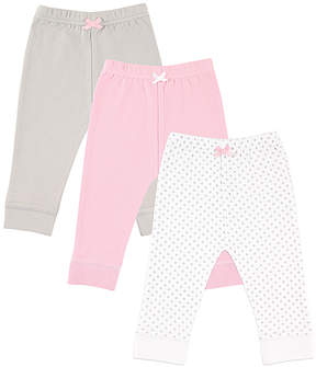 Luvable Friends White & Gray Dot Bow-Accent Pants Set - Newborn, Infant, Toddler & Girls