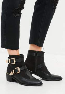 Missguided Black Western Buckle Trim Cowboy Boots