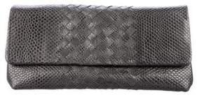 Bottega Veneta Textured Intrecciato-Trimmed Clutch